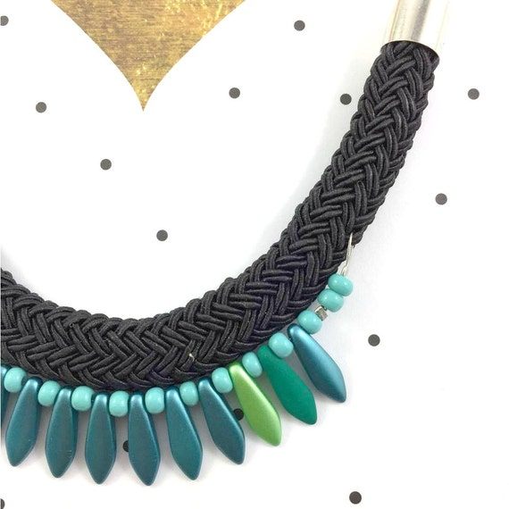 Ajustable, magnet, necklace, short or long, on chain with green, turquoise beads and on gray braided polyester cord