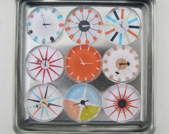 Mid Century Modern Clocks, Refrigerator Magnets, Fridge Magnets with Storage Tin, Retro Magnets