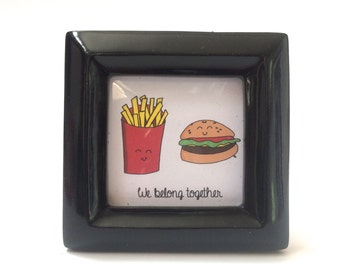 Mini Art Hamburger And French Fry, We Belong Together,  tiny doodle print cartoon drawing,  in 3 x 3 frame, couples gift, best friends,