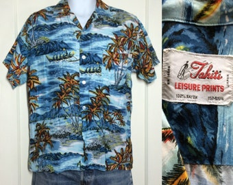1950's Blue Rayon Hawaiian Palm Tree beach Patterned Loop Shirt size Medium made in Japan Leisure