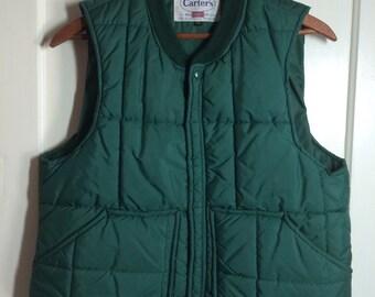 Vintage 1970's Carter's Dark Green Work Puffy Puffer Ski Vest size XL