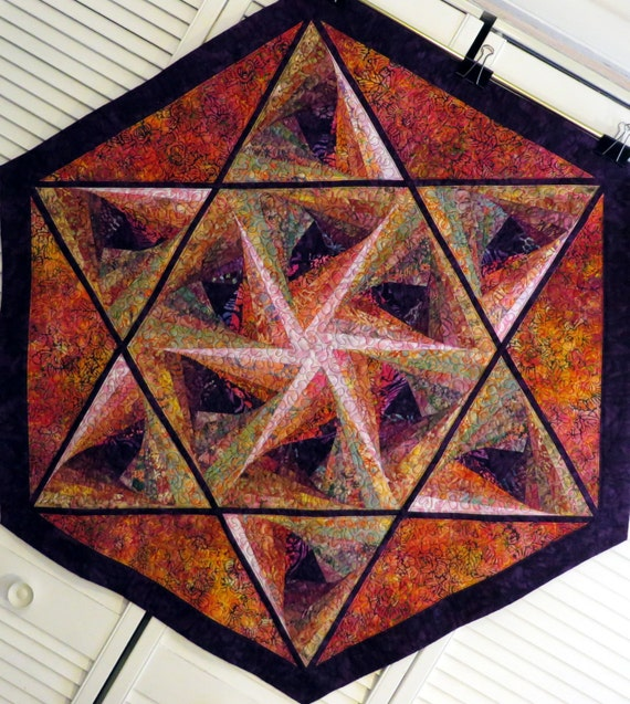 Star of David hexagon batik quilt mandala kaleidoscope