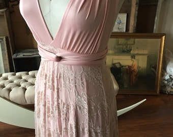 "Ready to Ship- Petite, 42"" Length ~ Blush Lace over Queensland Rosewater Infinity Wrap Dress- Wedding Gown, Bridesmaids, Maternity, Etc."