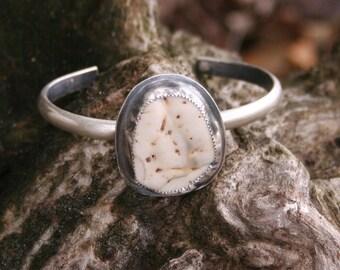 Ocean Shell Sterling Silver Oxidized Boho Southwestern Gypsy Statement Cuff Bracelet