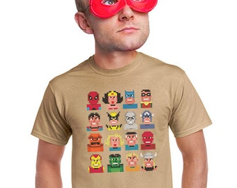 gamer shirt pixelated superhero tee gameboy icons nintendo atari commodore 64 old school video game t-shirt gifts for gamers guys nerdy tees