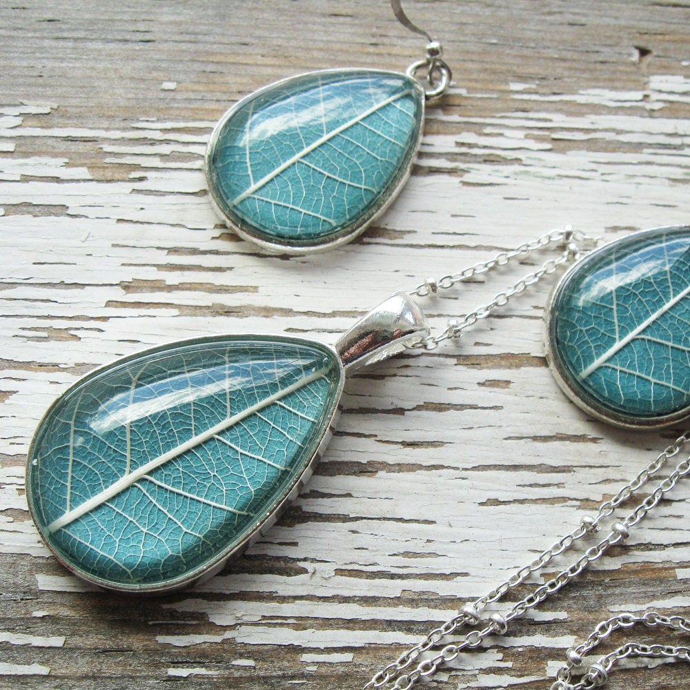 Real leaf necklace and earring set slate and silver for Winter garden studios