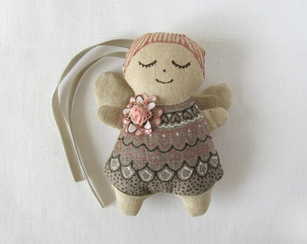 Linen angel decorated with silk flower from handpainted silk - peach pink, cream, ivory