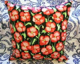"""Vintage Red Poppies on Black Fabric 16"""" Throw Pillow With Insert"""