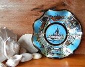 Vintage Walt Disney World souvenir  ashtray or candy dish Aqua blue and gold scenes of the Magic Kingdom Walt Disney productions