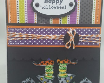 Happy Halloween Witch Shoes - Blank NoteCard, Greetings Card, Handmade Card