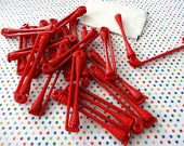 Twenty Vintage Red Perm Rods, Swing Arm Rods, Plastic Hair Curlers, Set of Perm Rods