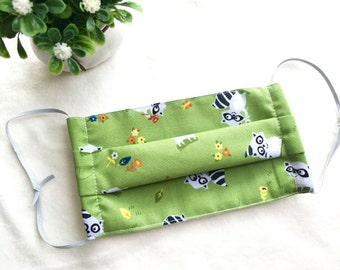 Organic Surgical Mask/ Adult Size/ Washable Cloth Surgical Mask/ Pollen Masks/ Pet Grooming Face Mask/ Cute Racoon