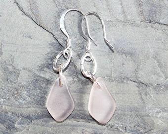 Pale Pink Earrings, Sea Glass Earrings, Valentine's Day Earrings, Handmade Earrings, Dangly Earrings, Organic Earrings, Summer Earrings