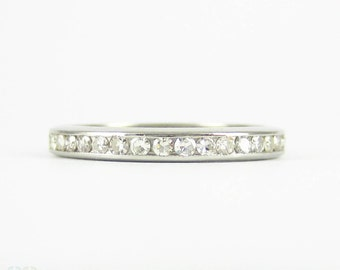 Art Deco Platinum Diamond Eternity Ring, 0.78 ctw Channel Set Diamond Wedding Band. Circa 1930s, Size I.75 / 4.75.