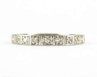 Art Deco White Gold Diamond Eternity Ring, Square Set Full Hoop Diamond Wedding Band. Circa 1930s, 18ct, Size N / 6.75.