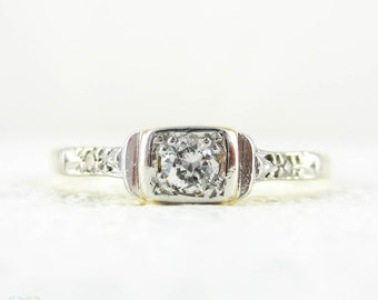 Dainty Diamond Engagement Ring, Three Stone Diamond Ring in Tapered, Stepped Design, Art Deco Ring in 18ct & Platinum.