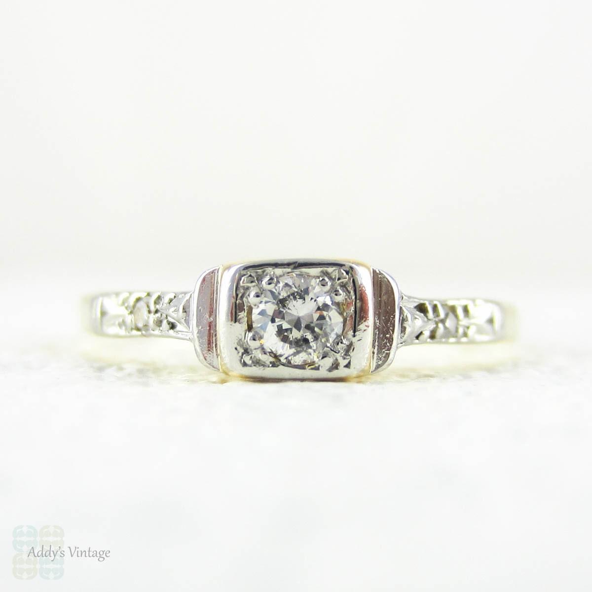 Dainty Diamond Engagement Ring Three Stone Diamond Ring in