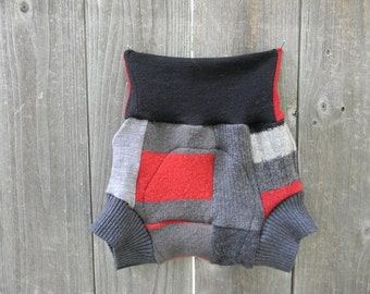 Upcycled Wool Soaker Cover Diaper Cover With Added Doubler Black/ Red/ Gray  Patchwork Scrappy LARGE 12-24M Kidsgogreen