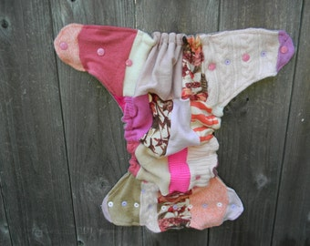 Upcycled Wool Nappy Cover Diaper Wrap Cloth Diaper Cover One Size Fits Most Girly Shabby Chic Patchwork Scrappy/ Taupe