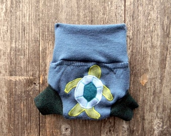 Upcycled Wool Soaker Cover Diaper Cover With Added Doubler Blue/Emerald Green  With Turtle  Applique NEWBORN 0-3M Kidsgogreen