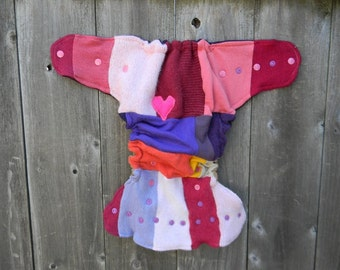 Upcycled Wool Nappy Cover Diaper Wrap Cloth Diaper Cover One Size Fits Most Girly Colors Patchwork Scrappy /Purple & Beige