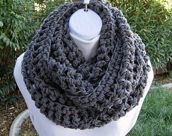 Large Solid Gray Crochet INFINITY SCARF, Chunky Bulky Winter Cowl, Grey Loop Scarf, Thick Long Wide Acrylic Knit Circle Scarf..Ready to Ship