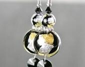 Gold Black Silver Earrings Sterling Silver Hook Earrings 24k Gold Venetian Murano Glass Earrings Dangle Drop Disc Earrings Murano Jewelry