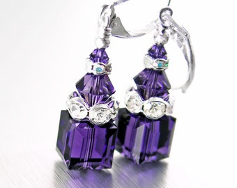 Dark Purple Crystal Earrings Sterling Silver Purple Swarovski Crystal Cube Earrings Geometric Jewelry Purple Dangle Drop Earrings