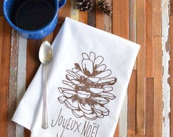 Cloth Napkins - Screen Printed Cotton Cloth Napkins - Eco Friendly Dinner Napkins - Joyeux Noel - Cotton Napkins - Christmas Napkins - Pine