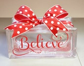 Christmas - Glass Block Lettering - Believe Vinyl Decal  - GLASS NOT INCLUDED - Vinyl Decal Stickers - Glass Block Crafts-.-Home Decor