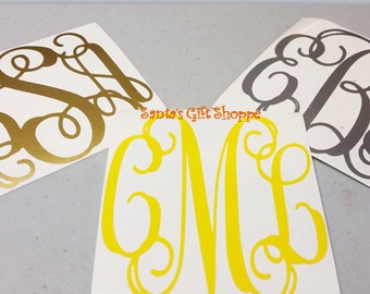 Monogram -Vinyl Decal Stickers -Personalized Monogram Decal -Initial Monograms -Laptop Decal - Monogrammed Letters-i Pad -Water Bottle Decal