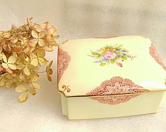 Noritake Japanese Box-Vintage Handpainted Small China Box-Pink Roses Flower Pattern China Jewelry Trinket Storage Box-1940's Noritake China