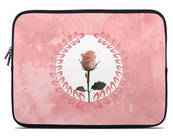 Floral laptop sleeve, pink laptop case, rose laptop cover, to fit 10, 13, 15, 17 inch, gift for her