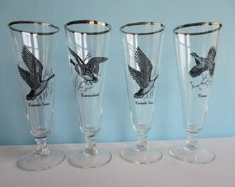 Vintage Flying Geese Pilsner Glasses - Retro Barware