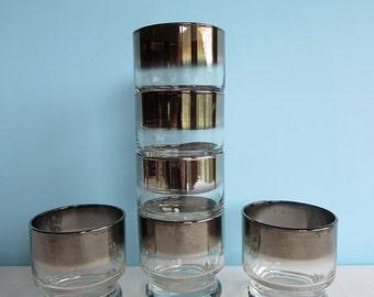 Vintage Cocktail Glasses - Silver Ombre Small Glasses - Rocks -  Barware Glasses