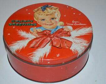 Vintage advertising tin Sunbeam Holiday Christmas round cake cookie tin Miss Sunbeam