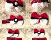 AMY ENGELHARD: Special Order - 6 months-Crocheted Pokemon Ball Bow on Clip-Plus 2 Elastic Headbands-Custom Order