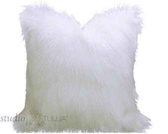 Furry White Pillow Cover - faux fur - creamy white - Pick YOUR SIZE - between 16 - 26 inches - made to order