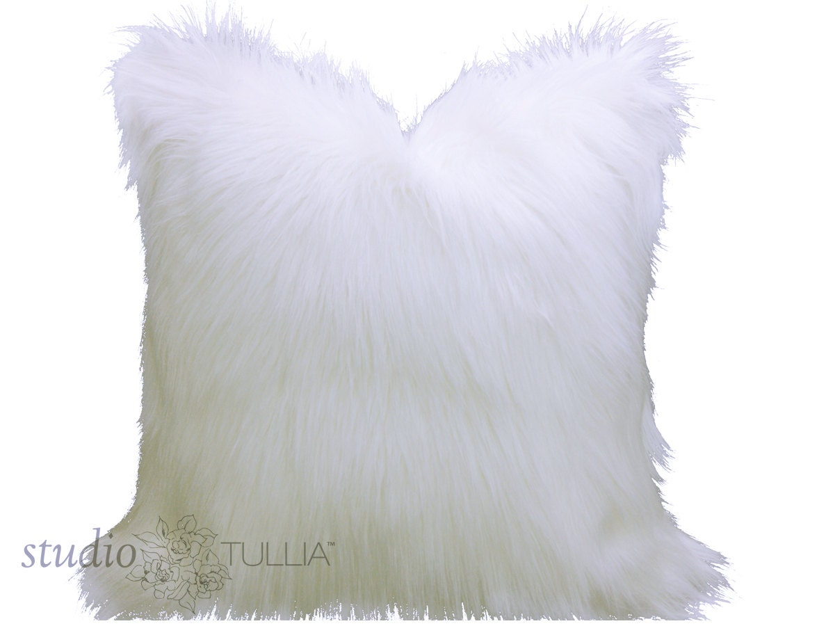 Fur pillow cover furry white pillow cover faux fur white for White faux fur pillow