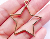 Hollow Star Charm | Outline Star Pendant | Resin Craft Supplies (Gold / 1 piece / 33mm x 36mm) CHM2531