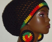 100% Cotton Rasta Trim Cotton Crochet Beret Tam with Earrings by Razonda Lee Razondalee Made to Order