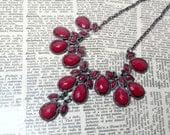 SALE - Formal Red Gunmetal Statement Necklace