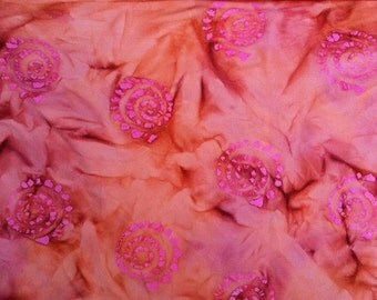 Peach pink Swirls Hand dyed batik fabric quilt fabric by the yard Fat quarter 100% cotton fabric yardage