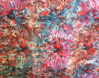 Stripes Fireworks July 4 Hand dyed batik fabric quilt fabric by the yard Fat quarter 100% cotton fabric yardage