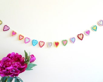 Mandala hearts garland - bohemian wedding decor - crochet hearts garland - boho wedding decorations - bohemian decorations ~35.5 inches