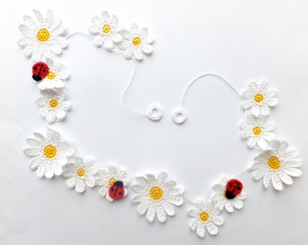 Summer home decor - crochet daisies garland - kids party decor - crochet flower garland - baby nursery wall decor - daisies decor ~35.4 in