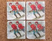 """Marble Stone Coaster Set - """"Vintage Ski Couple"""" - Ski Decor - Ski Coaster - Rustic Decor - Ski - Coaster - Vintage Ski - Natural Stone"""