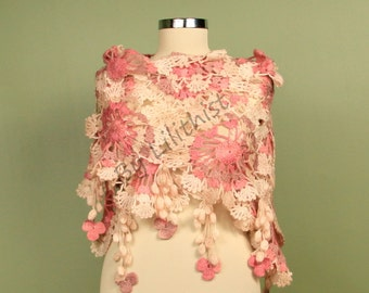 Crochet Shawl, Wedding Shawl, Crochet Scarf, Crochet Wrap, Pink Ivory Wedding Wrap, Bridal Shawl, Cover Up, Flower Shawl Winter Gift For Her