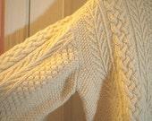 Classic Aran Style Cream Hand Knit Sweater Large 46 - 48 Chunky