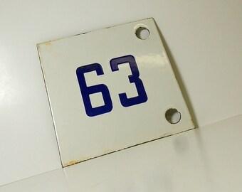 Vintage Porcelain Enamel Street Number Sign / Number Sign / Number 63 / #63 / House Number Sign / French Enamel / White and Blue